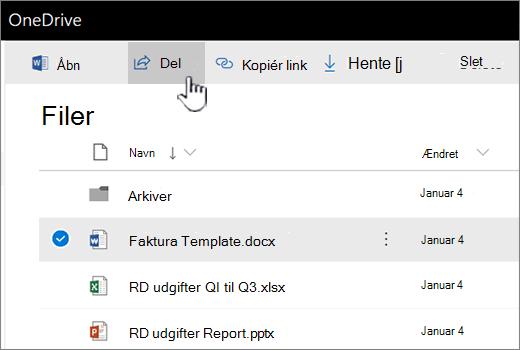 OneDrive med fil valgt og knappen bliver trykket del