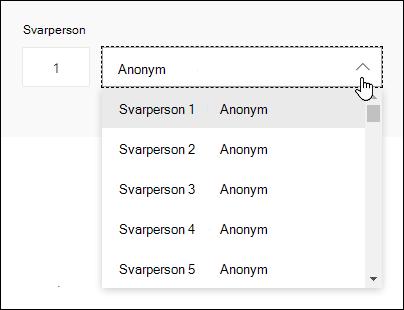 Få vist en rulleliste over svarpersoner i Microsoft Forms
