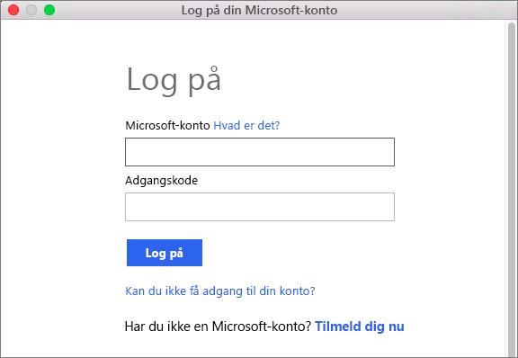 Angiv brugeroplysningerne for din Microsoft-konto for at få adgang til tjenester, der er knyttet til din konto.