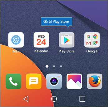 Tryk på Play Store på Android-startskærmen