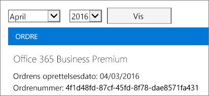 Skærmbillede af siden Fakturaer i Office 365 Administration.