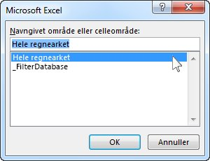 Dialogboksen Microsoft Excel i Word