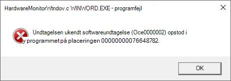 Fejl: HardwareMonitorWindow:WINWORD.EXE – Programfejl