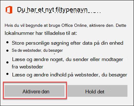 Vælg aktivere det når du får bekræftelsesvinduet filtypenavn.