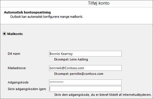 Skærmbillede til at føje en mailkonto til Outlook