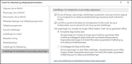 Sektionen med indstillinger til beskyttelse af personlige oplysninger i Center for sikkerhed og rettighedsadministration i Office til Windows