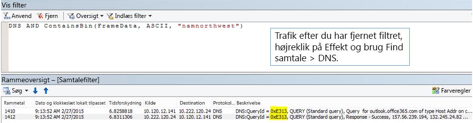 En sporing, som er filtreret efter Find samtaler og derefter efter DNS.