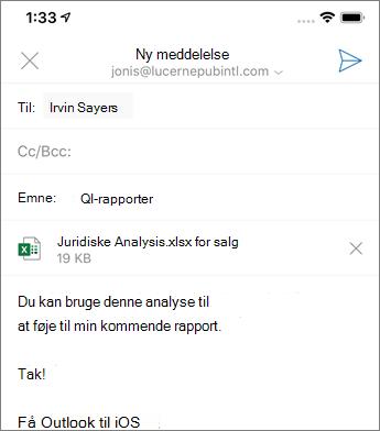 Oprette en ny mail i Outlook Mobile