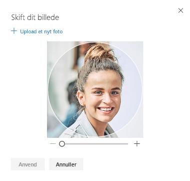 Skærmbillede med mulighed for at skifte dit profilbillede