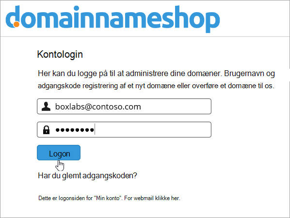 Logonskærmen i Domainnameshop