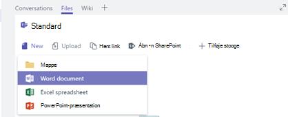 Oprette eller overføre en ny fil til din kanal filer bibliotek