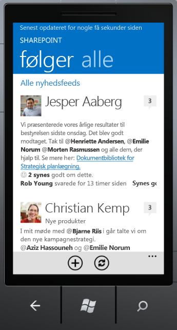 Skærmbillede af Newsfeed-app'en på Windows Phone