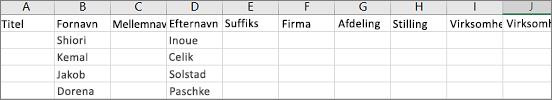 Eksempel på .csv-fil fra Outlook åbnet i Excel