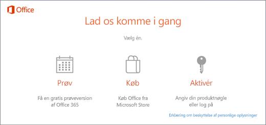 Et skærmbillede, der viser standardindstillingerne for prøv, køb eller aktivér på en pc, der har Office forudinstalleret.