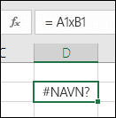 #NAVN? fejl, når du bruger x sammen med cellereferencer i stedet for * til multiplikation
