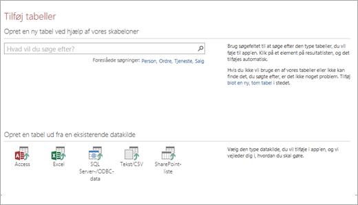 Føj tabeller til en Access-webapp