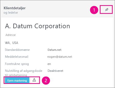 Du kan fastgøre klienten eller markere den med et flag under Klientens oplysningskort.