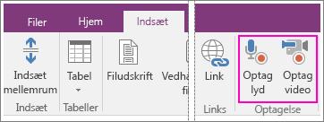 Skærmbillede af menuen Indsæt med AV-knapper i OneNote 2016.