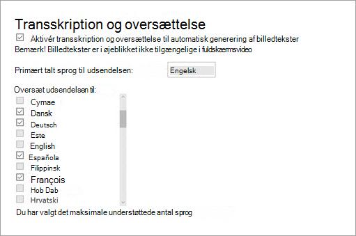 Aktivere afskrift og oversættelse