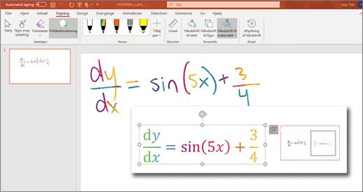 Håndskrift til matematik