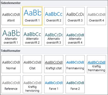 Skærmbillede af Sideelementer og Teksttypografier, som findes i gruppen Typografier på båndet i SharePoint Online.
