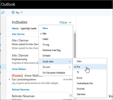 Skærmbillede af Indbakke, hvor Filter > Sortér efter > Fra er markeret.