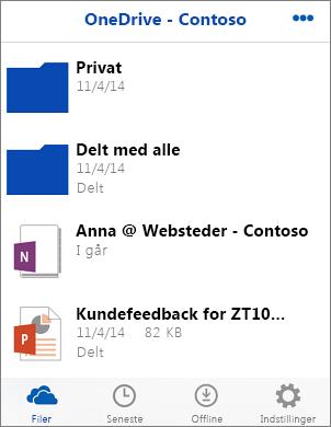 Skærmbillede af filer i OneDrive for Business-appen