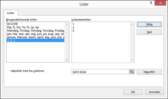 Tilføje brugerdefinerede listeelementer manuelt ved at skrive dem i dialogboksen Rediger brugerdefinerede liste og trykke på Tilføj