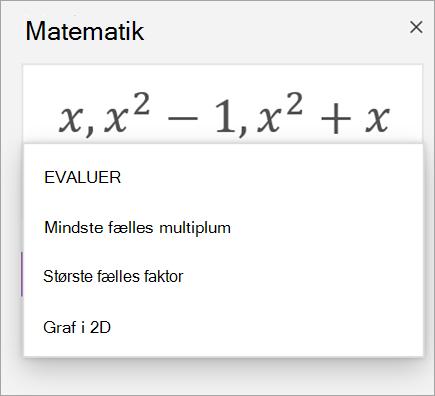 Liste over matrixer i matematik assistent