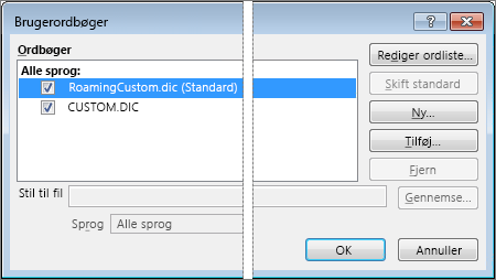 dialogboksen brugerordbøger