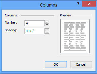 Skærmbillede af Flere kolonner under Tekstfeltværktøjer i Publisher.