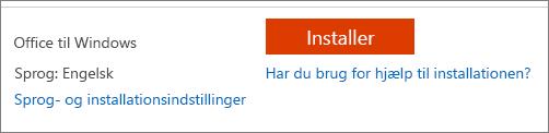 Skærmbillede af installere knappen og link til at vælge andre indstillinger for sprog- og installationsindstillinger