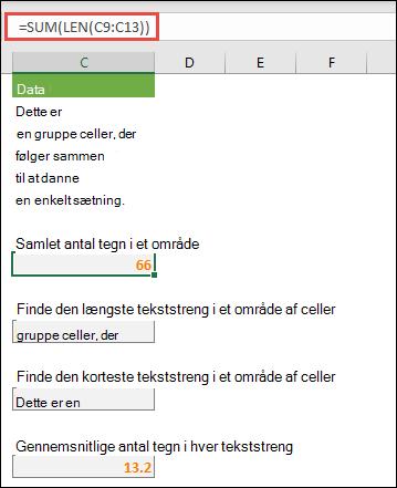 Tæl det samlede antal tegn i et område og andre matrixer til at arbejde med tekststrenge