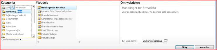 Webdelsvælgeren viser Excel Web Access-webdelen