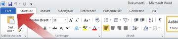 Pil, der peger mod fanen Filer i Word