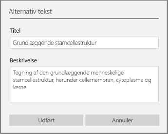 Dialogboksen Alternativ tekst til tilføjelse af alternativ tekst i OneNote til Windows 10.