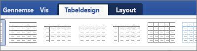 Viser fanerne Tabeldesign og Layout til administration af tabeller