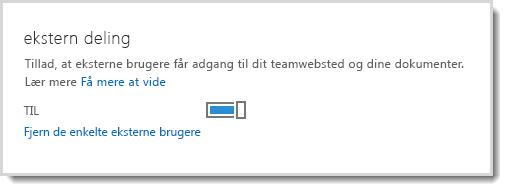 Billede, der viser kontrolelementet til aktivering/deaktivering af muligheden for, at eksterne brugere får adgang til dit teamwebsted og dine dokumenter.