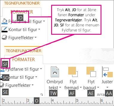 Nye tastaturgenveje med to bogstaver, der åbner fanen Tegnefunktioner.
