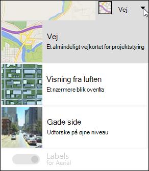 Bing kort webdel korttype