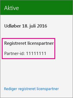 Skærmbillede, der viser et partner-id, som er knyttet til et Office 365-abonnement