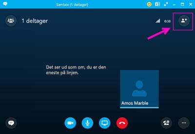 Udgående opkald med Skype for Business.