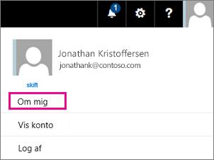 Skærmbillede af en brugerkonto-menu i Office 365