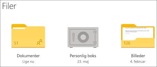 Skærmbillede af mappen Personlig boks i OneDrive