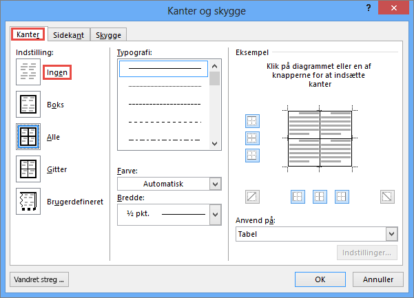 Outlook 2010-dialogboksen Kanter og skygge for tabeller