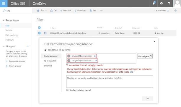 Brugerne får vist denne fejl, når de forsøger at dele et OneDrive-dokument med en domæneadresse, der er begrænsning på.