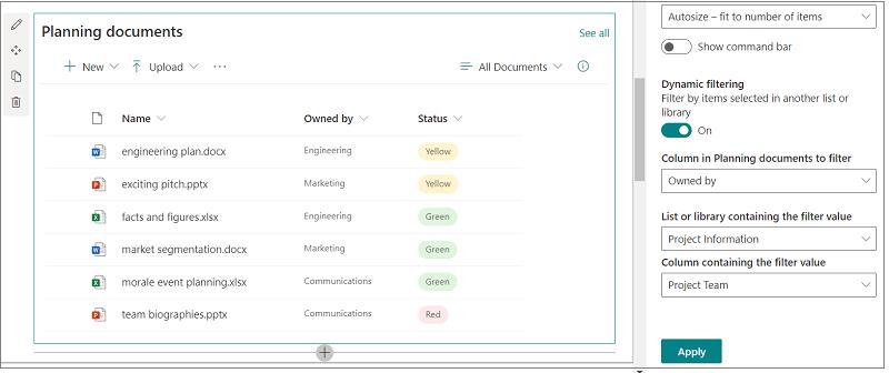 Dokumentbibliotek med ruden åben for indstillinger for dynamisk filtrering