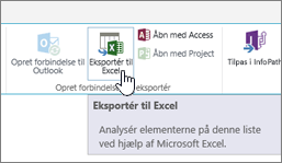 Knappen Eksportér til Excel på båndet i SharePoint fremhævet