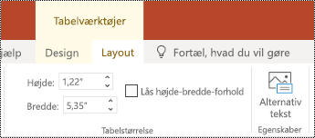 Knappen Alternativ tekst på båndet for en tabel i PowerPoint Online.