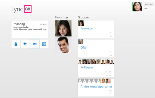 Skærmbillede af søgefeltet til kontakter i Lync